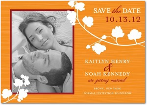 photo of Signature white photo save the date cards, Blossom Silhouette