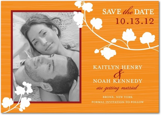 Signature white photo save the date cards, Blossom Silhouette