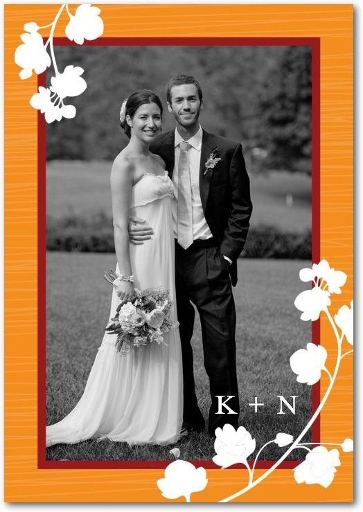 Signature white photo thank you cards, Blossom Silhouette