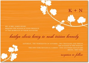 photo of Signature white wedding invitations, Blossom Silhouette
