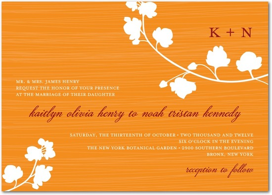 Signature white wedding invitations, Blossom Silhouette