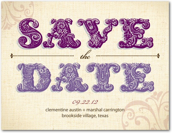 photo of Save the date postcards, Embellished Swirls