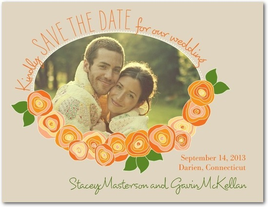 Save the date postcards, Fresh Garland