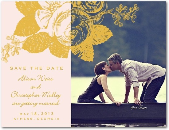 Save the date postcards, Nostalgic Romance