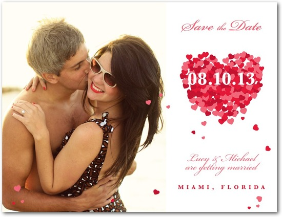 Save the date postcards, Scattered Hearts