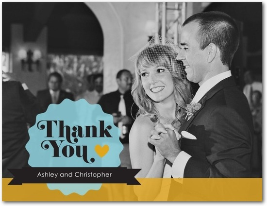 photo of Thank you postcards, Colorful Chic