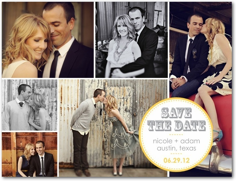 Save the date postcards, Charming Montage