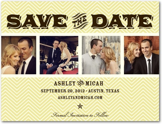 photo of Save the date postcards, Chevron Collage
