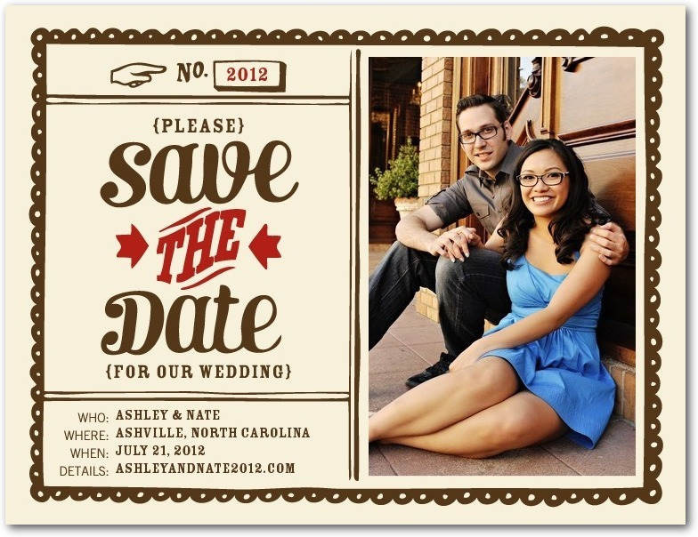Save the date postcards, Quaint Date
