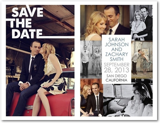 Save the date postcards, Contemporary Collage