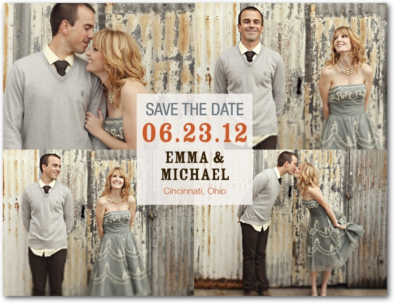 Save the date postcards, Center Square