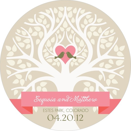 photo of Signature white save the date circle cards, Beautiful Love