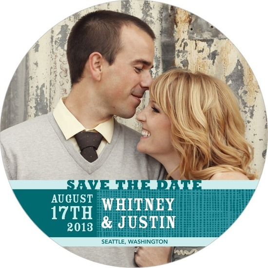 Signature white save the date circle cards, Tasteful Texture