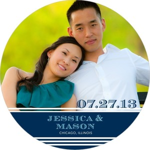 photo of Signature white save the date circle cards, Etched Date