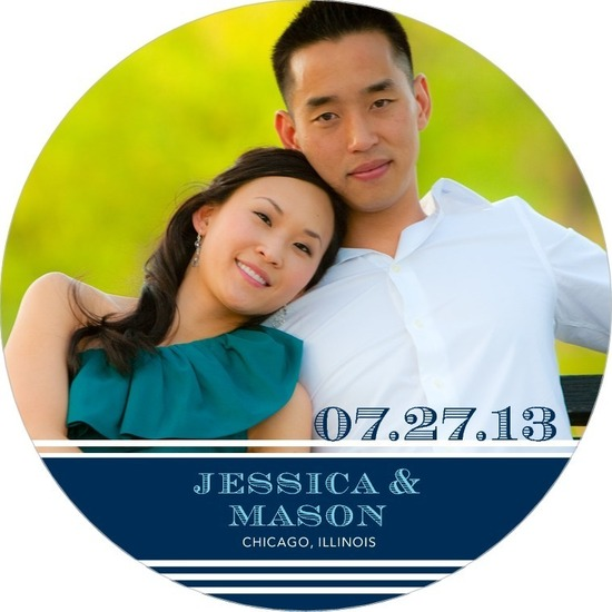 Signature white save the date circle cards, Etched Date