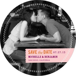 photo of Signature white save the date circle cards, Stylish Label