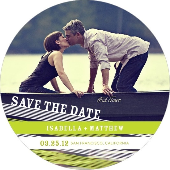 photo of Signature white save the date circle cards, Criss Cross Charm