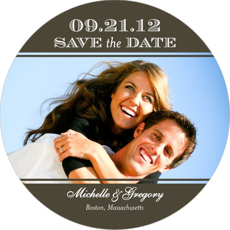 Signature white save the date circle cards, Elegant Engraving