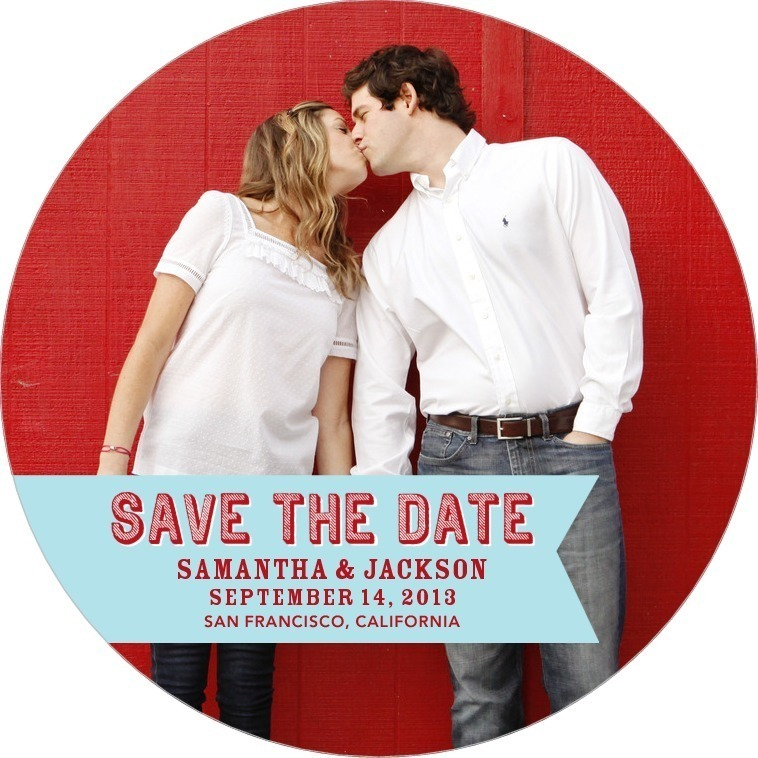 Signature white save the date circle cards, Pure Joy