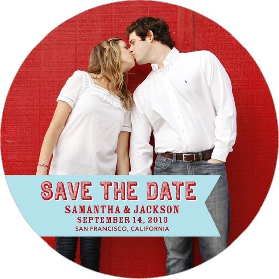 photo of Signature white save the date circle cards, Pure Joy