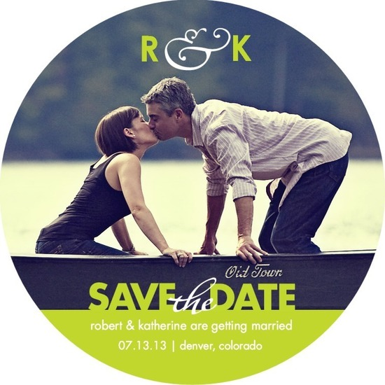 photo of Signature white save the date circle cards, Tasteful Touch