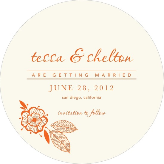 Signature white save the date circle cards, Blooming Woodblock