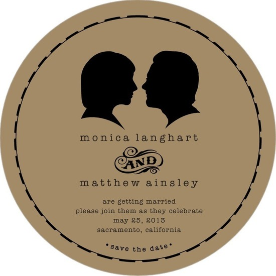 Signature white save the date circle cards, Antique Silhouette