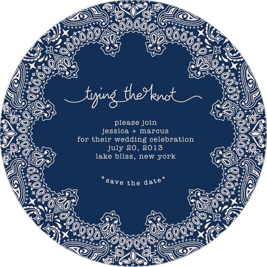 photo of Signature white save the date circle cards, Bandanna Border