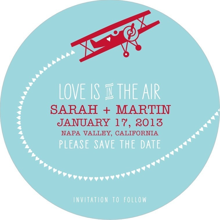 Signature white save the date circle cards, Lovely Flight