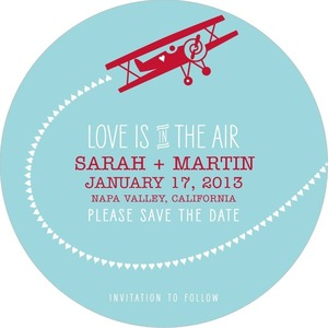 photo of Signature white save the date circle cards, Lovely Flight