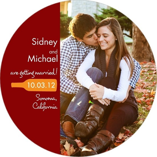 photo of Signature white save the date circle cards, Bottle Bliss