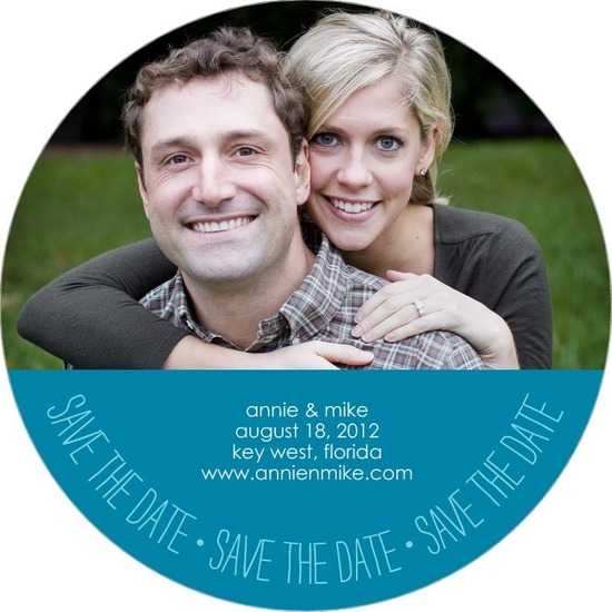 Signature white save the date circle cards, Casual Circle