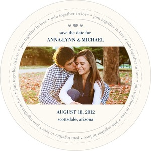 photo of Signature white save the date circle cards, Unending Vows