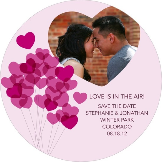 photo of Signature white save the date circle cards, Lovely Balloons