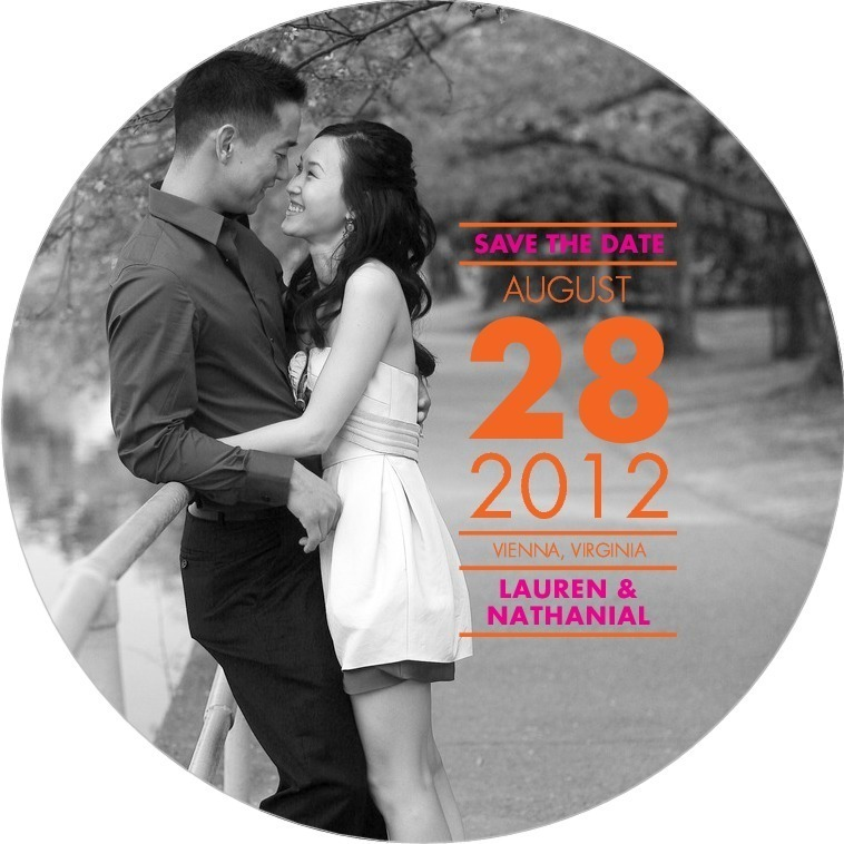 Signature white save the date circle cards, Bold Type
