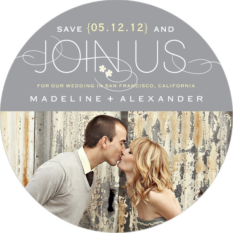Signature white save the date circle cards, Joyous Joining