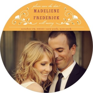 photo of Signature white save the date circle cards, Charming Flourish