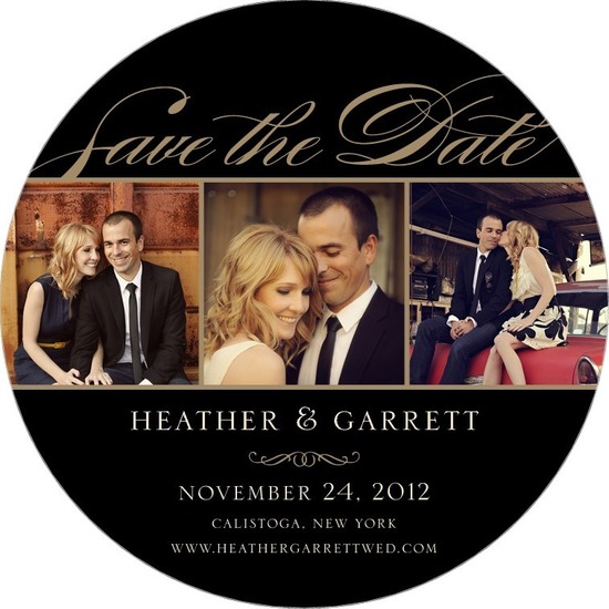Signature white save the date circle cards, Photo Elegance