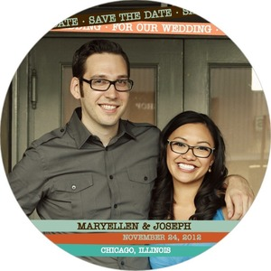 photo of Signature white save the date circle cards, Custom Bands