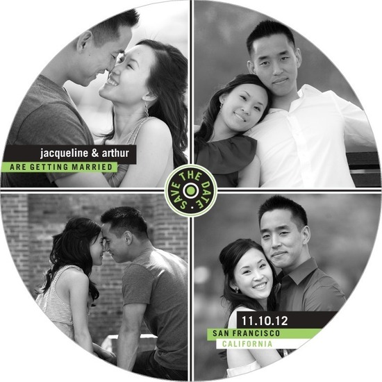 photo of Signature white save the date circle cards, Love Grid