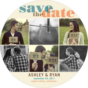 photo of Signature white save the date circle cards, Circle Collage