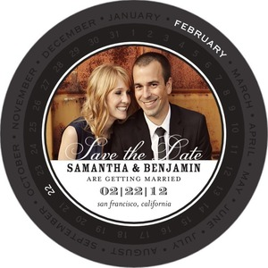 photo of Signature white save the date circle cards, Circular Calendar