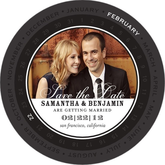 Signature white save the date circle cards, Circular Calendar