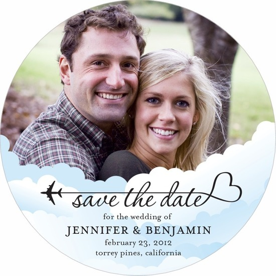 photo of Signature white save the date circle cards, Above the Clouds
