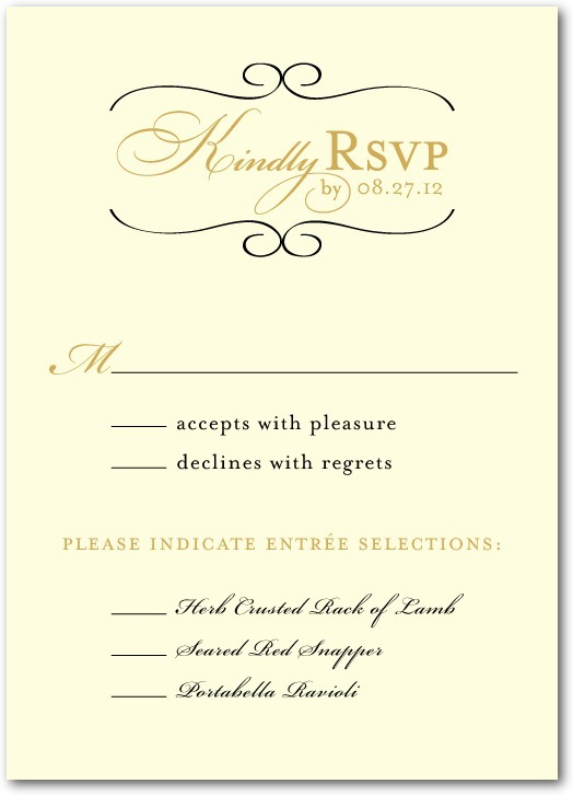 Signature white wedding response cards, Restored Calendar