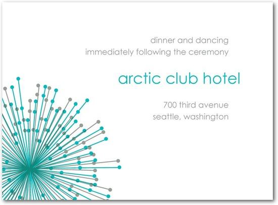 photo of Letterpress wedding reception cards, Striking Starbursts