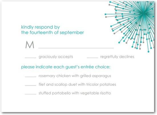 photo of Letterpress wedding response cards, Striking Starbursts