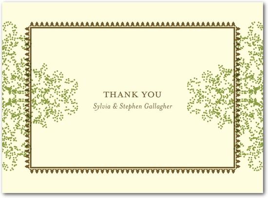 Letterpress thank you cards, Charmed Moss