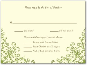 photo of Letterpress wedding response cards, Charmed Moss