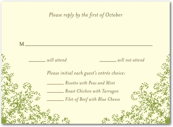 Letterpress wedding response cards, Charmed Moss
